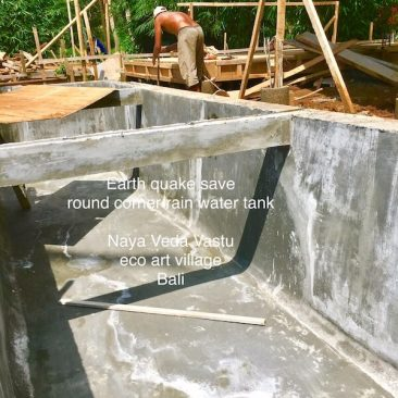 Earth quake save rain water tank under each villa.
